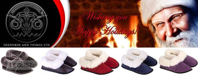 $49, Sheepskin slippers made in Canada with Merino wool with or without sole. Buy your slippers today!