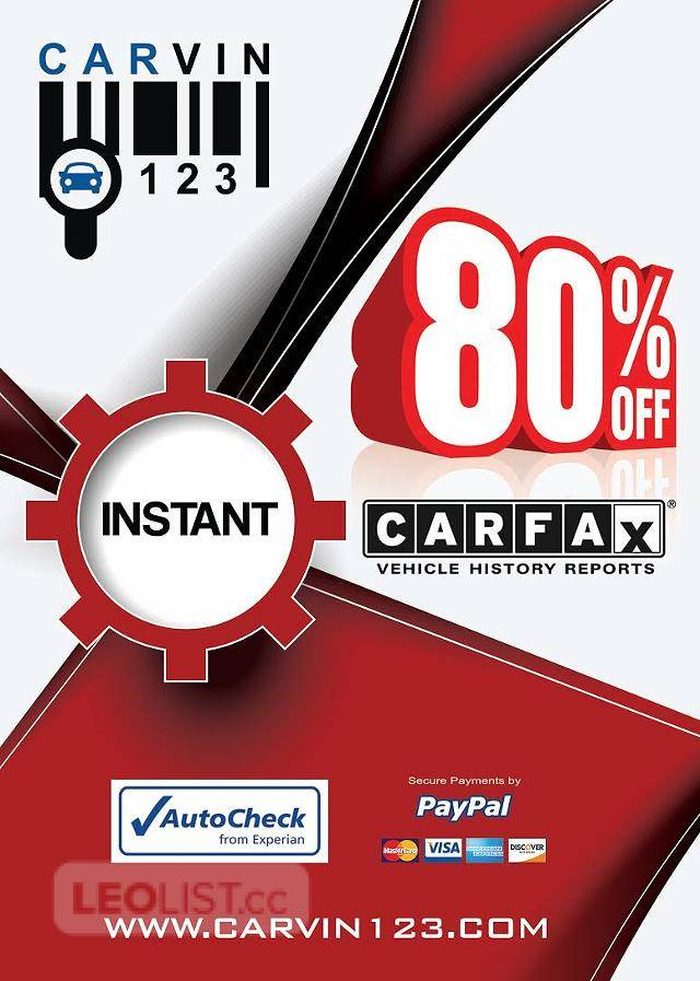 $5, cheap CARFAX autocheck CARVIN123 car fax salvage VIN FREE check License plate vehicle history report