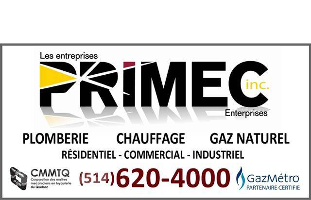 PRIMEC Plumbing / Plumber Montreal Heating Natural Gas Emergency