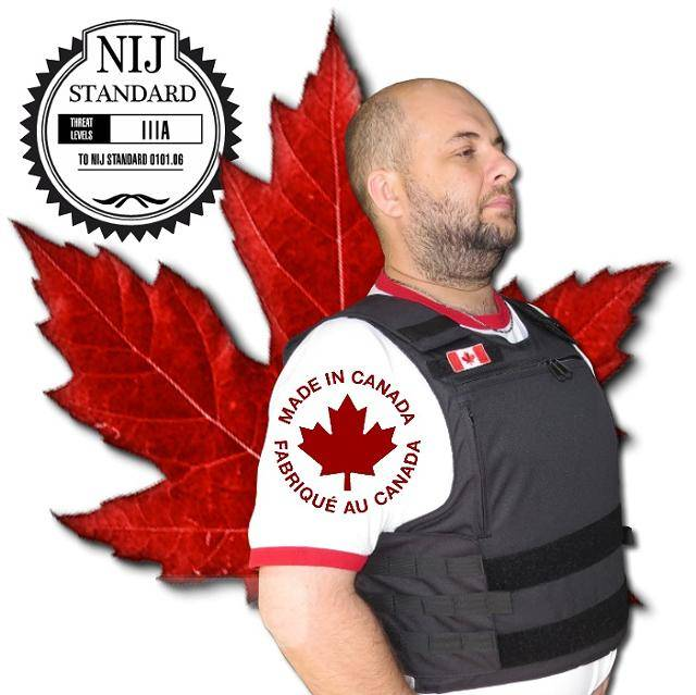 $399, NIJ III-A stab & bullet Proof tactical ballistic body armour vest, Made in Canada, 5y Warranty