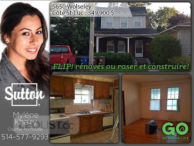 $349,900, 3br, Flip opportunity or land to build - Côte-St-Luc