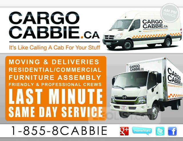 Local Small moves in Toronto,from a Single item delivery to full apartment moves, Go Cargo Cabbie!