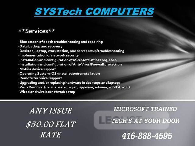 ***BEST COMPUTER SERVICES and Repairs - TECH Comes to your home or office $50